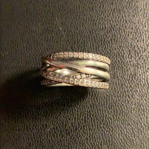 Sparkling & Polished Lines Ring by Pandora
